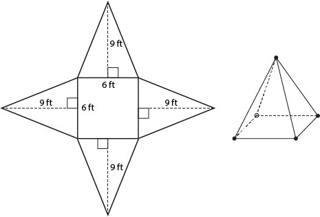 This is a picture of a square pyramid and the net for the