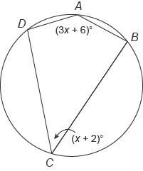 Quadrilateral ABCD is inscribed in a circle. What is the