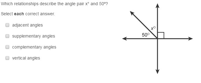 Which relationships describe the angle pair x° and 50º