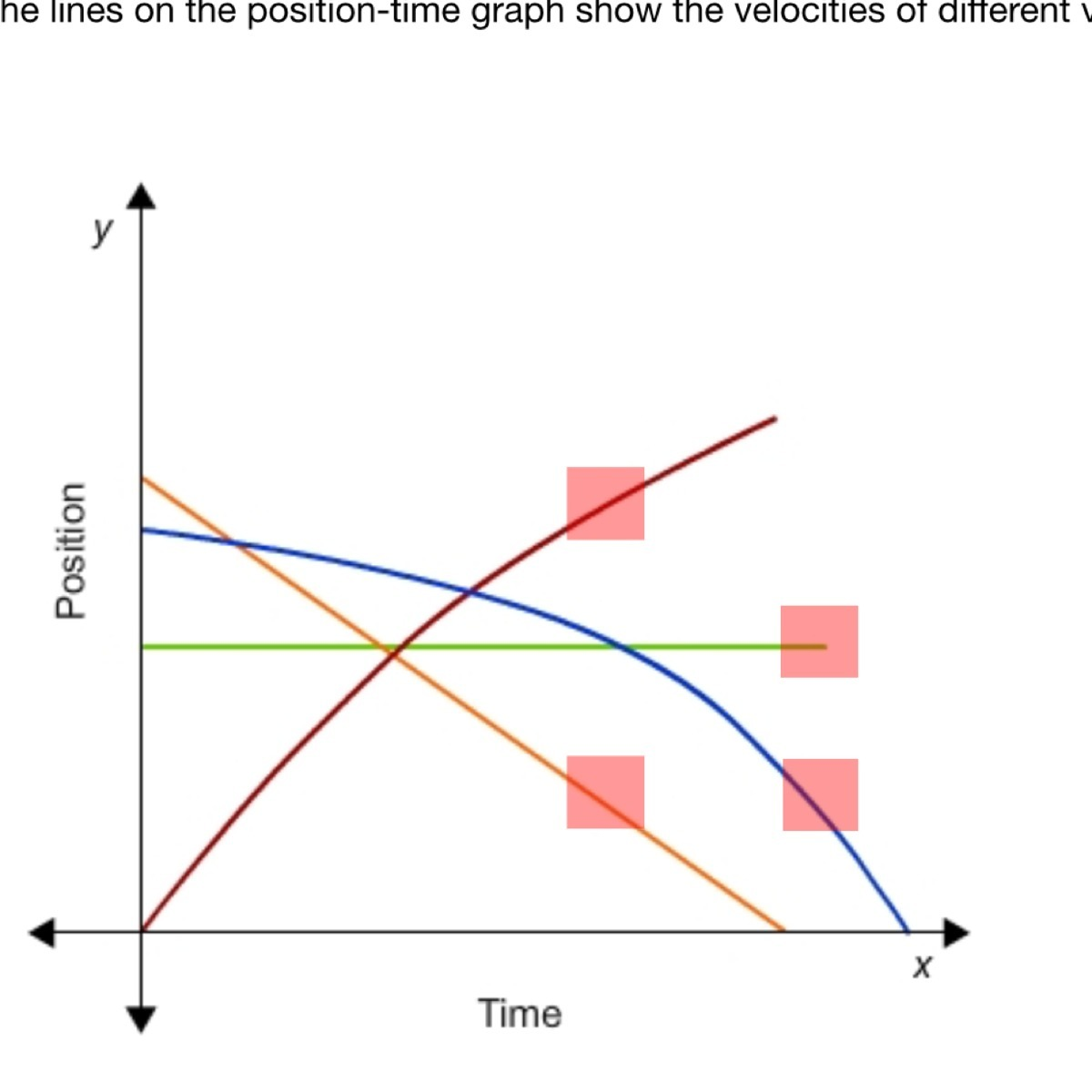The Lines On The Position Time Graph Show The Velocities