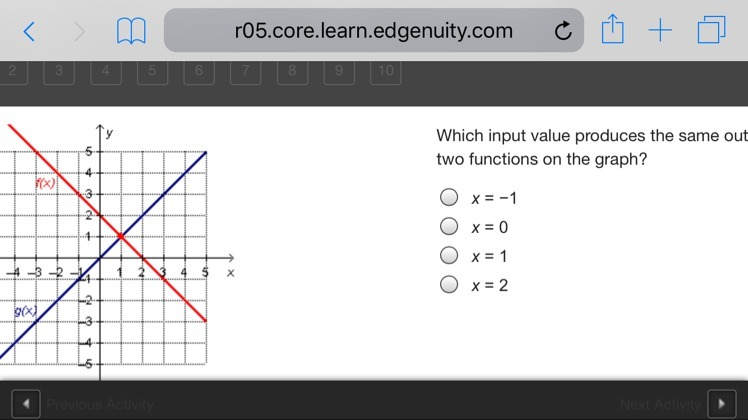 Which Input Value Produces The Same Output Value For The