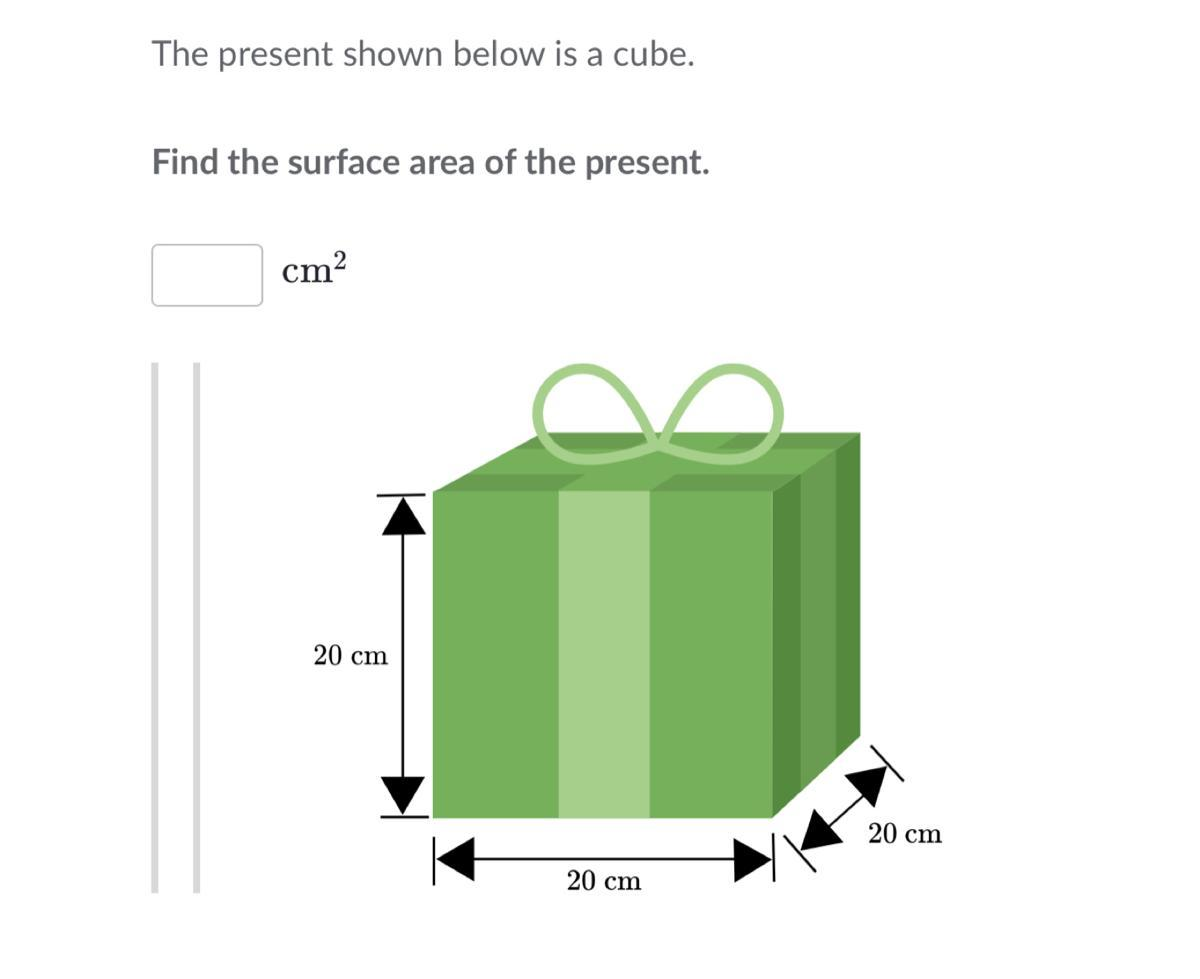 The Present Shown Below Is A Cube Find The Surface Area