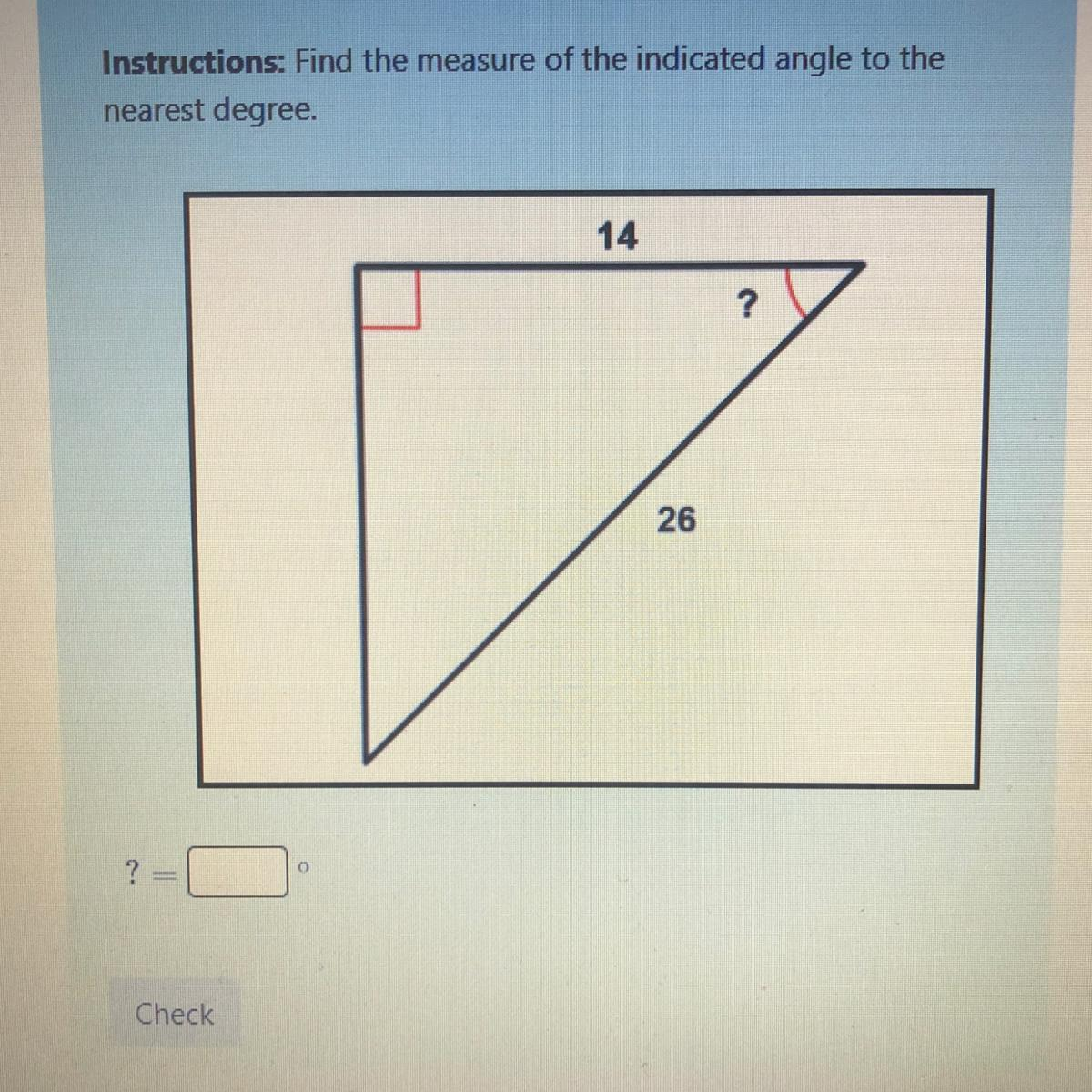 Instructions Find The Measure Of The Indicated Angle To