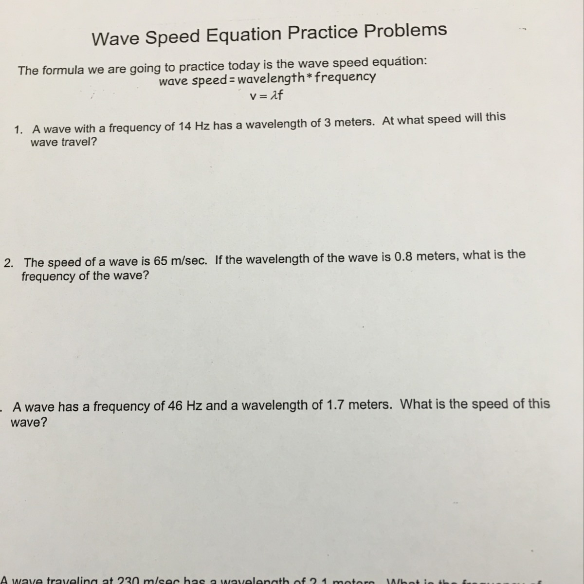 A Wave With A Frequency Of 14 Hz Has A Wavelength Of 3
