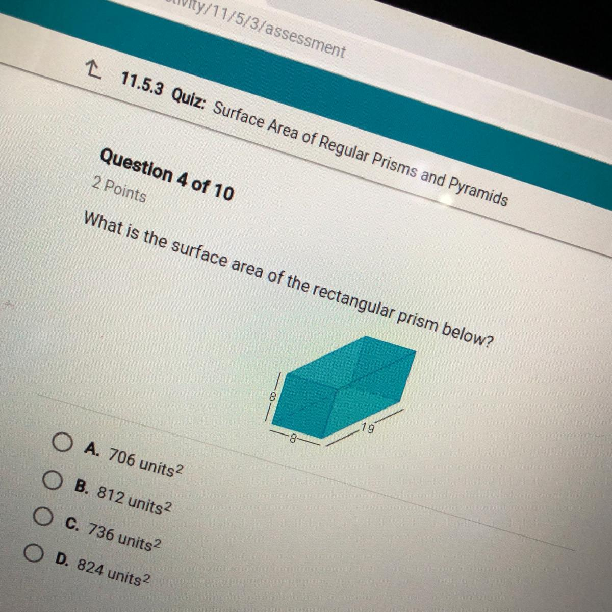 Solved What Is The Surface Area Of The Rectangular Prism