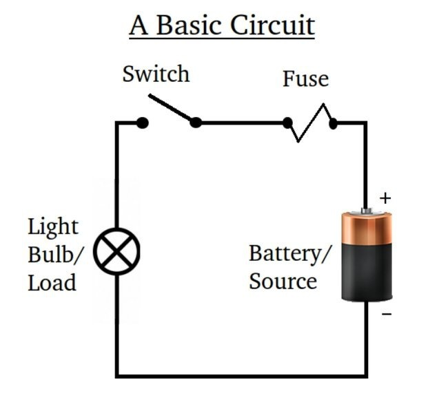 Draw a series circuit with one battery, a motor, a light