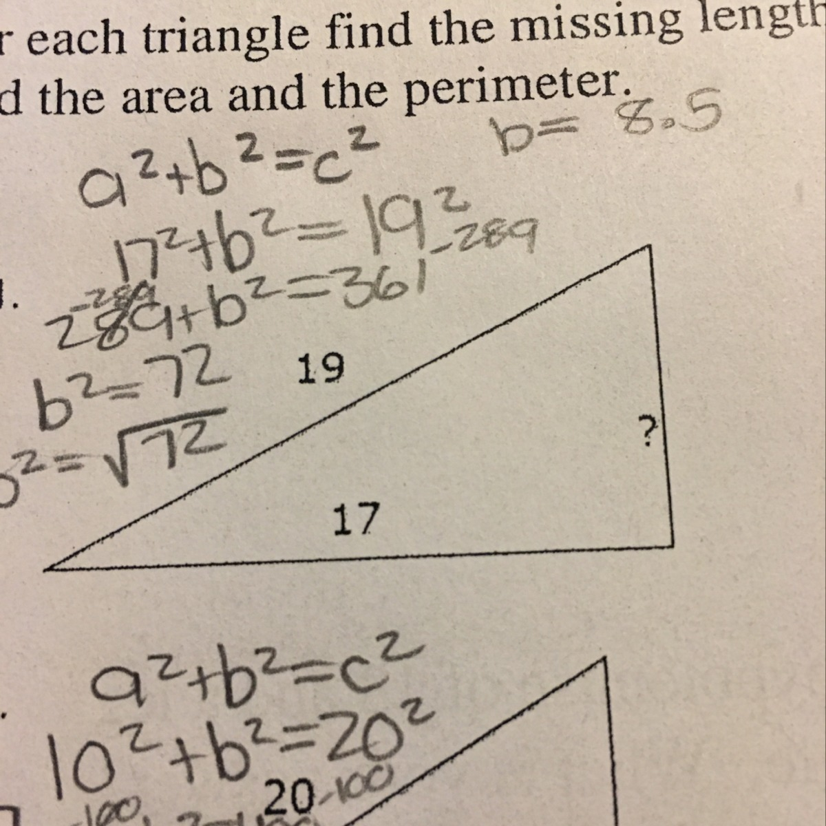 Find The Area And Perimeter Of The Triangle In The Picture