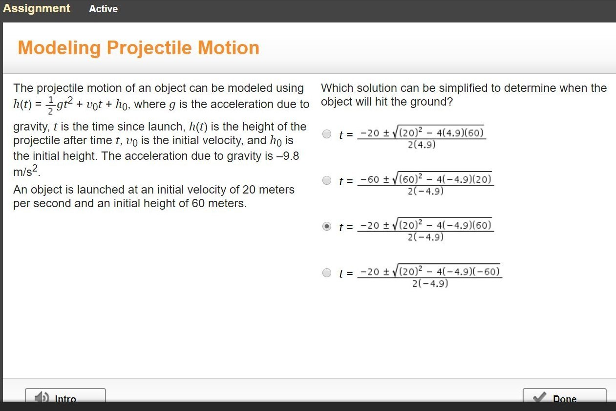 The Projectile Motion Of An Object Can Be Modeled Using H