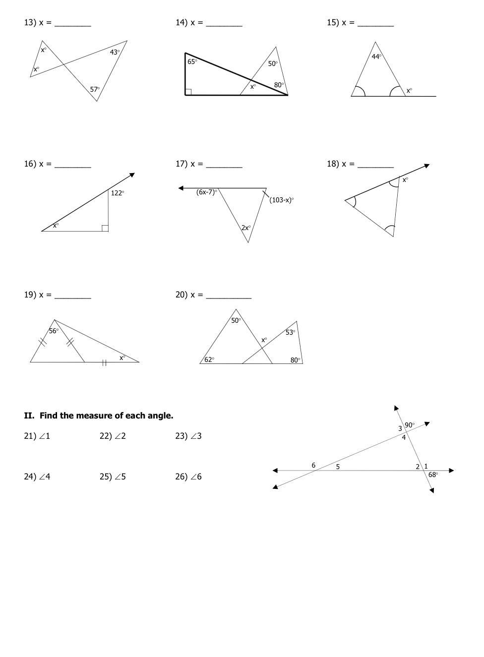 4.1 Worksheet Triangle Sum and Exterior Angle Theorem ..
