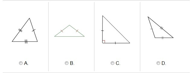 Two sides of an isosceles triangle are the same length. Which is an obtuse isosceles triangle? - Brainly.com