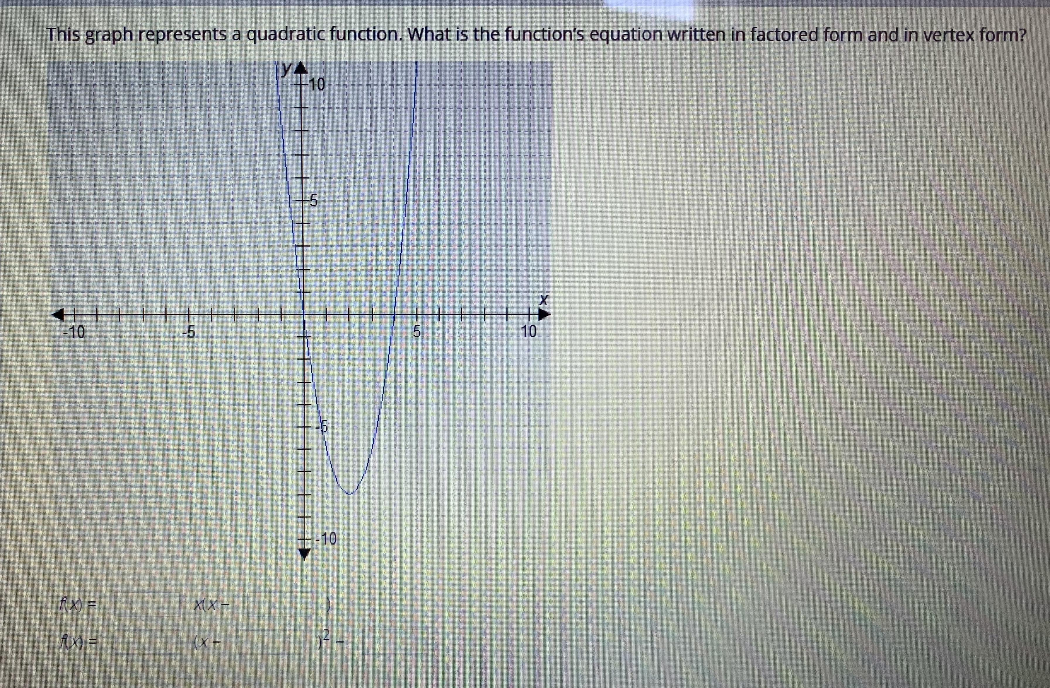 This Graph Represents A Quadratic Function What Is The