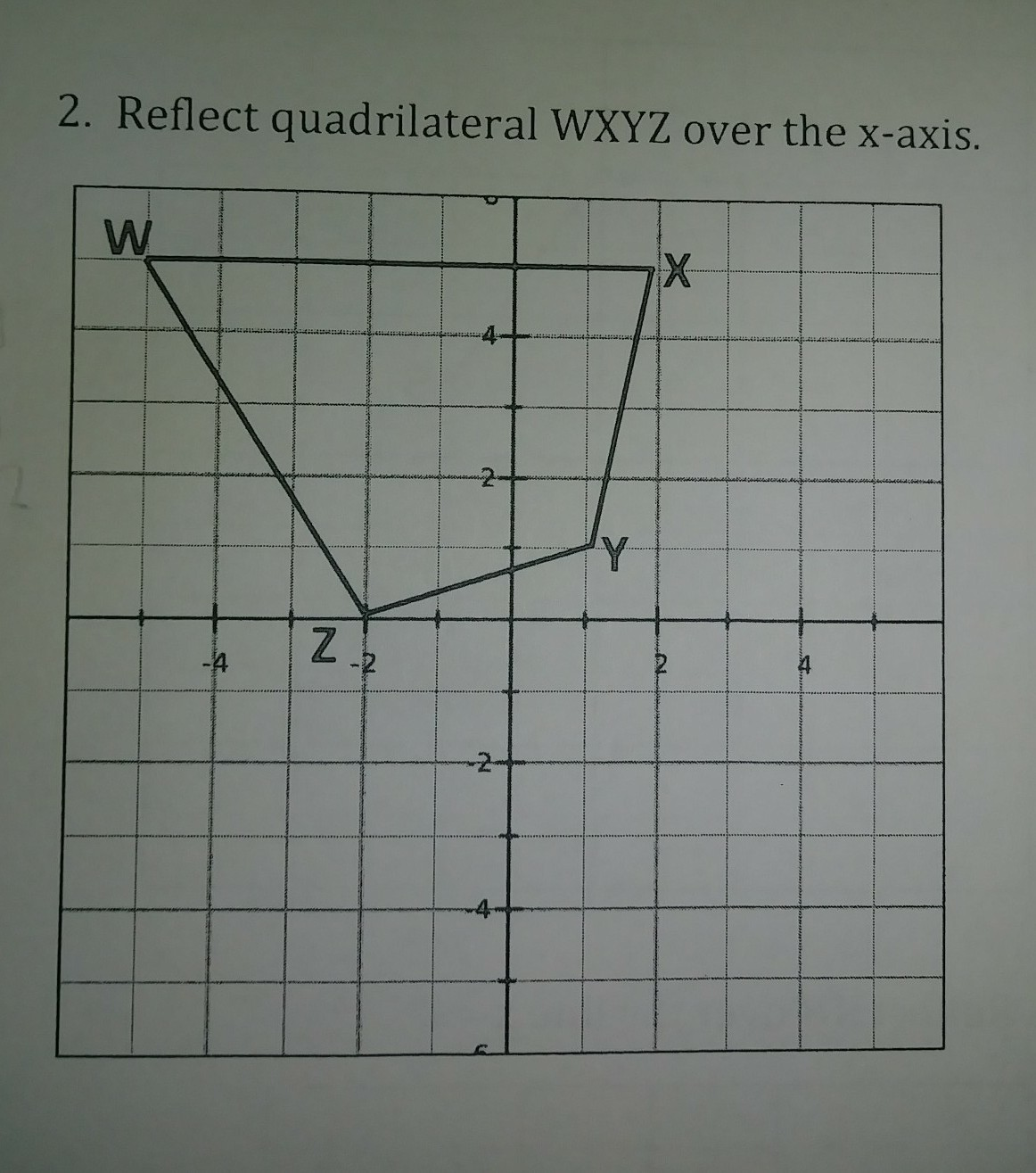 Reflect Quadrilateral Wxyz Over The X Axis