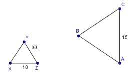 The two triangles below are similar. What is the