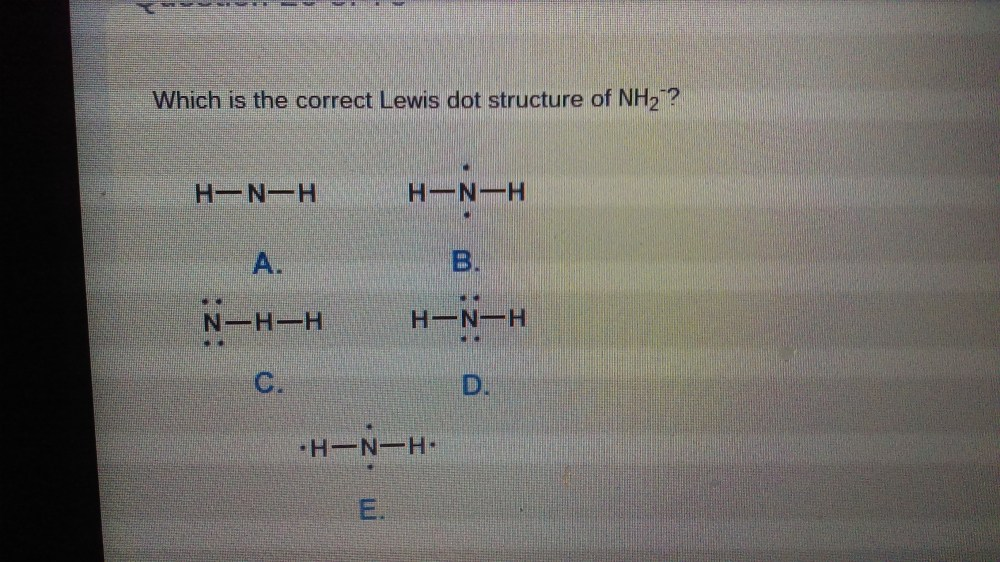 medium resolution of which is the correct lewis dot structure of nh2