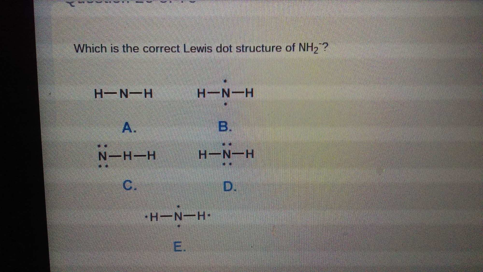hight resolution of which is the correct lewis dot structure of nh2