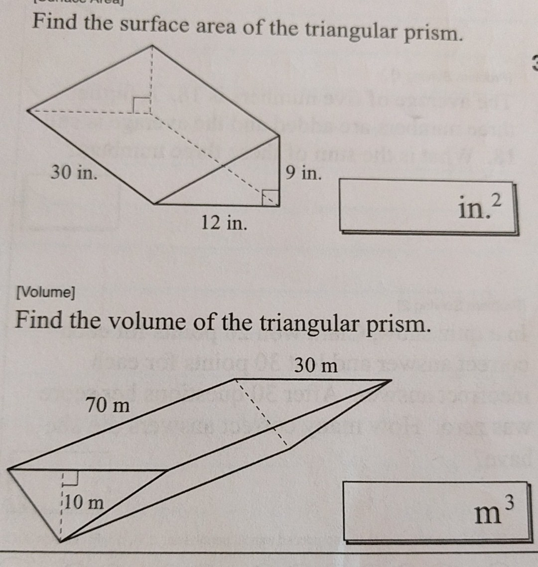 Find The Surface Area Of The Triangular Prism 30 In 9 In