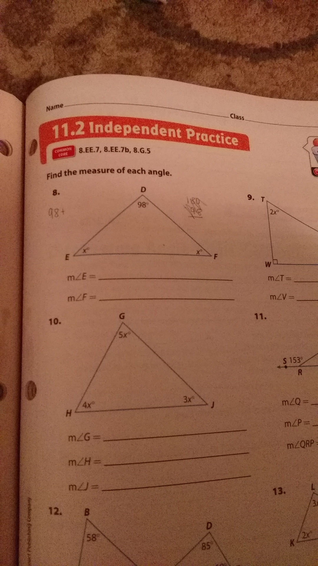 Find The Measure Of Each Angle Angle D 98 How Do I Find