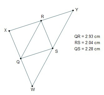 QR,RS , and SQ are midsegments of WXY. The perimeter of