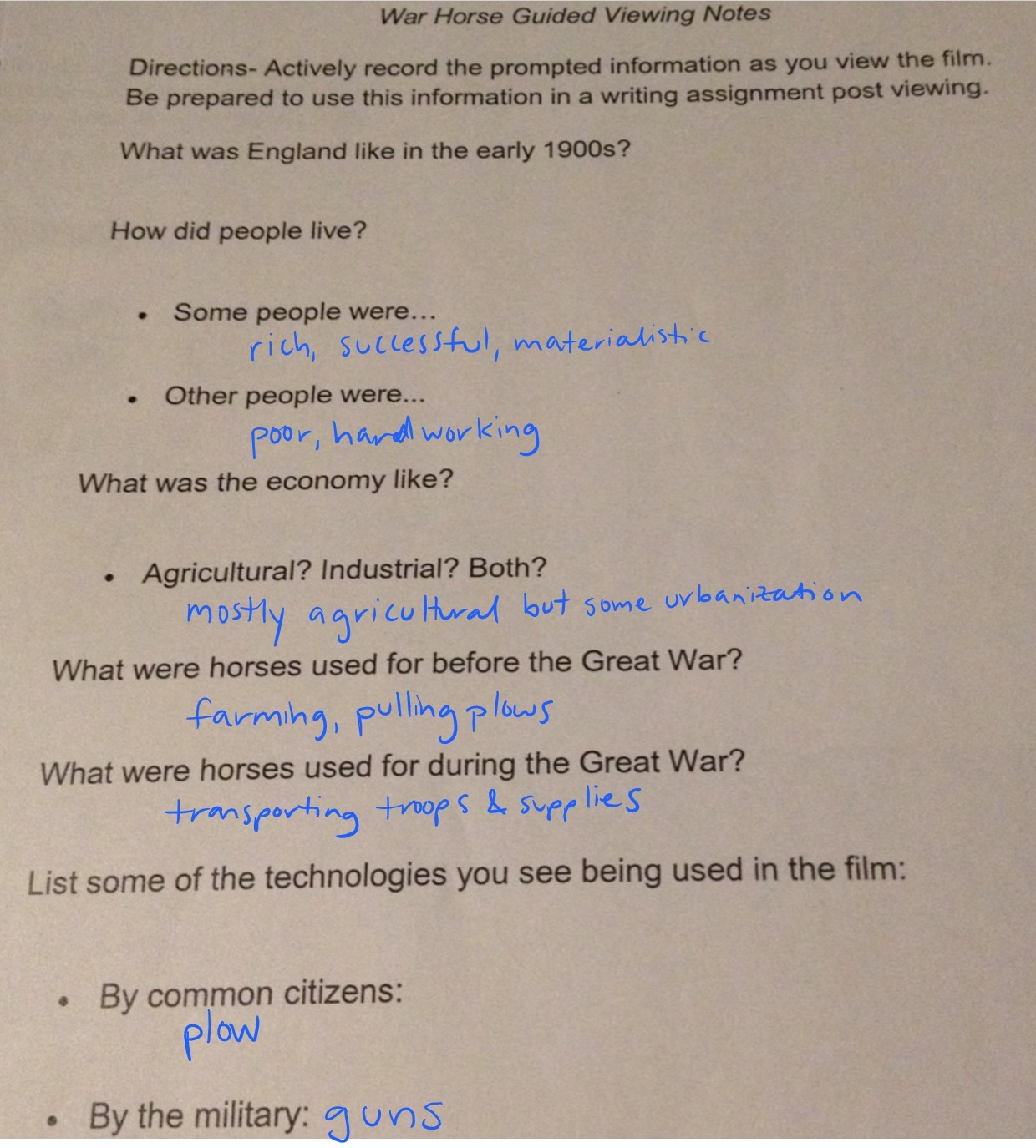 War Horse Movie Guided Movie Notes Worksheet