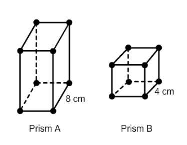 Prism A is similar to Prism B. The volume of Prism A is