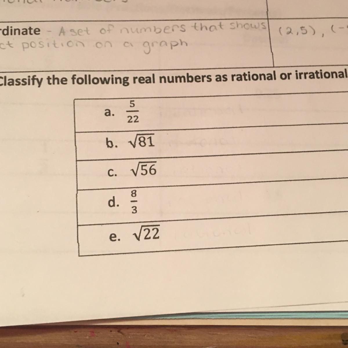 Classify The Following Real Numbers As Rational Or