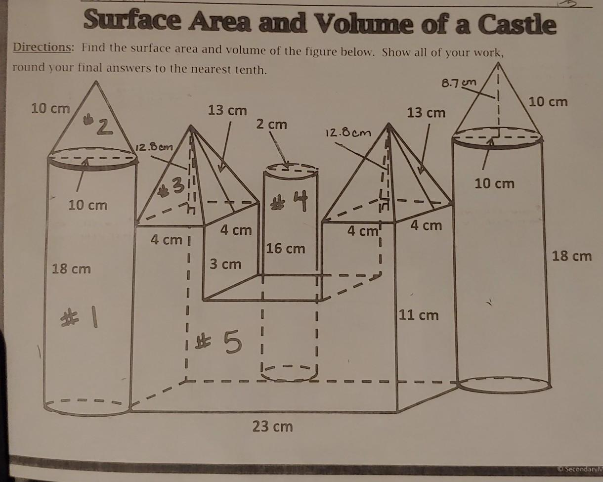 What Is All Of The Surface Area And Volume Of This Castle