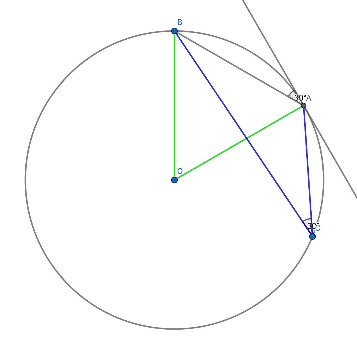 A Tangent To A Circle At Point A Is Given And Point A Is
