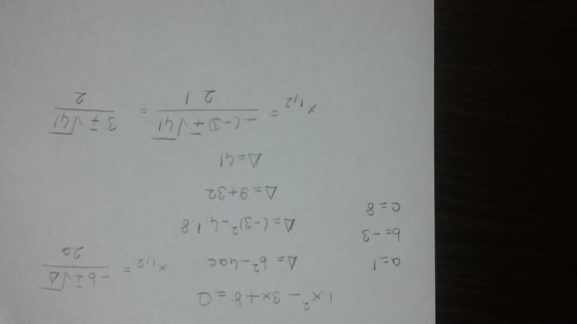 Solve x2 − 3x = −8. x equals quantity of 3 plus or minus I