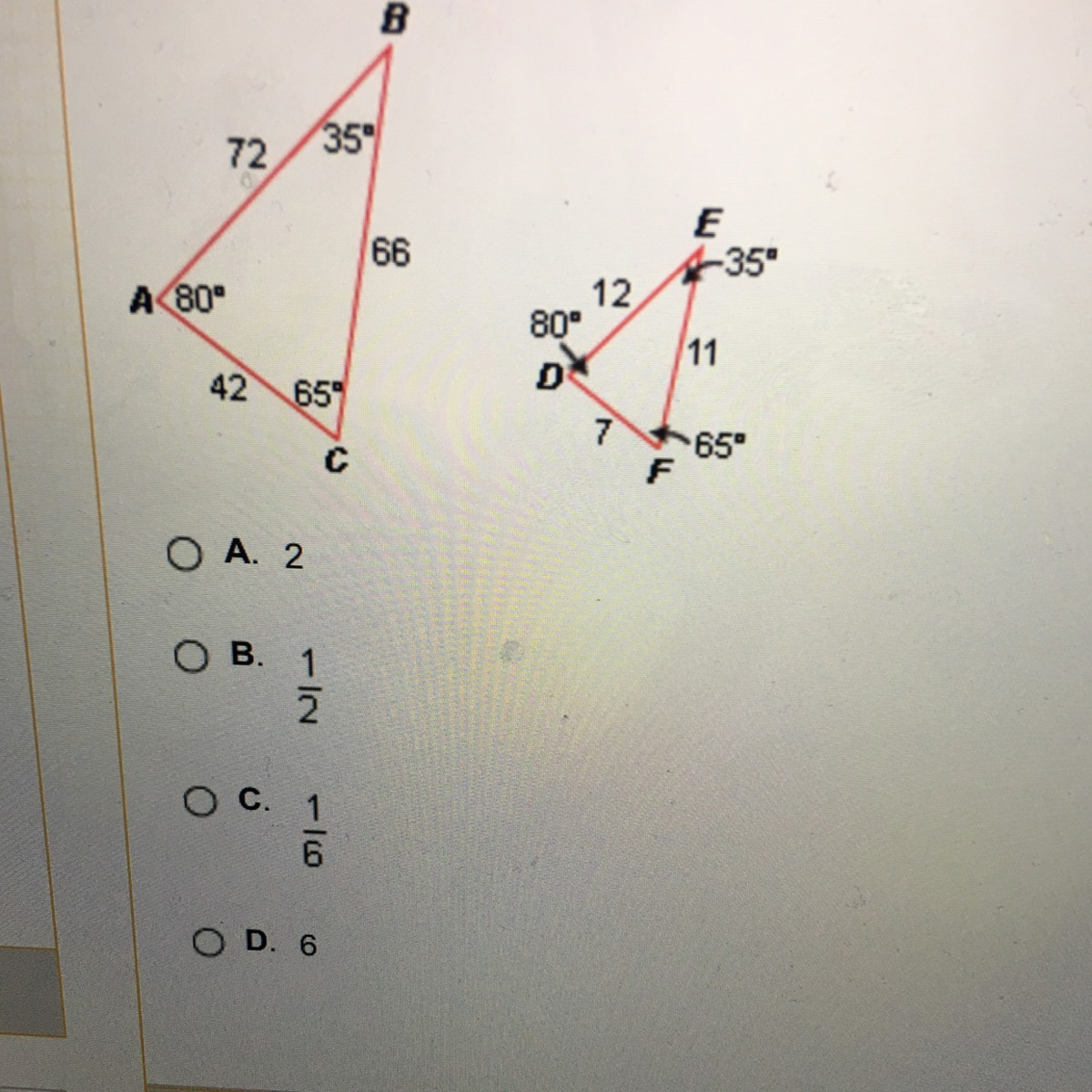 What Is The Scale Factor Of Triangle Abc To Triangle Def