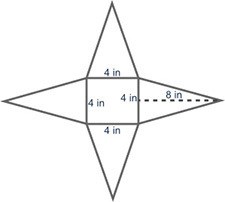 (05.07) The net of a pyramid is shown below. The net of a