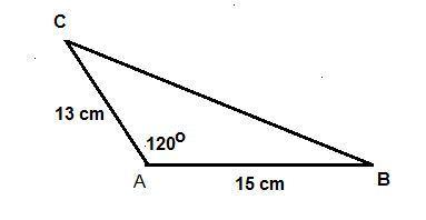 Given ΔABC, m∠A = 120°, b = 13 cm, and c= 15 cm. Find the