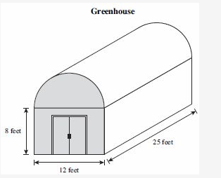 A Greenhouse has the shape of a cylinder and rectangular