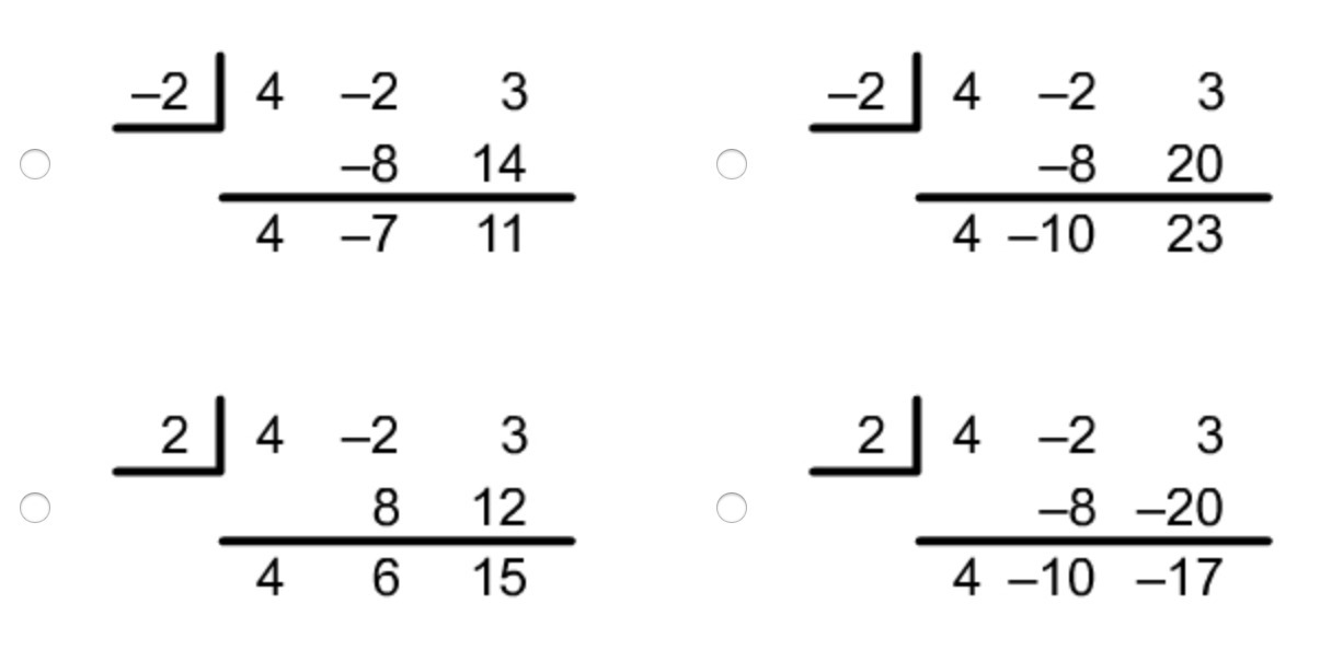 please help! Cassidy wants to divide 4x^2−2x+3 by x + 2
