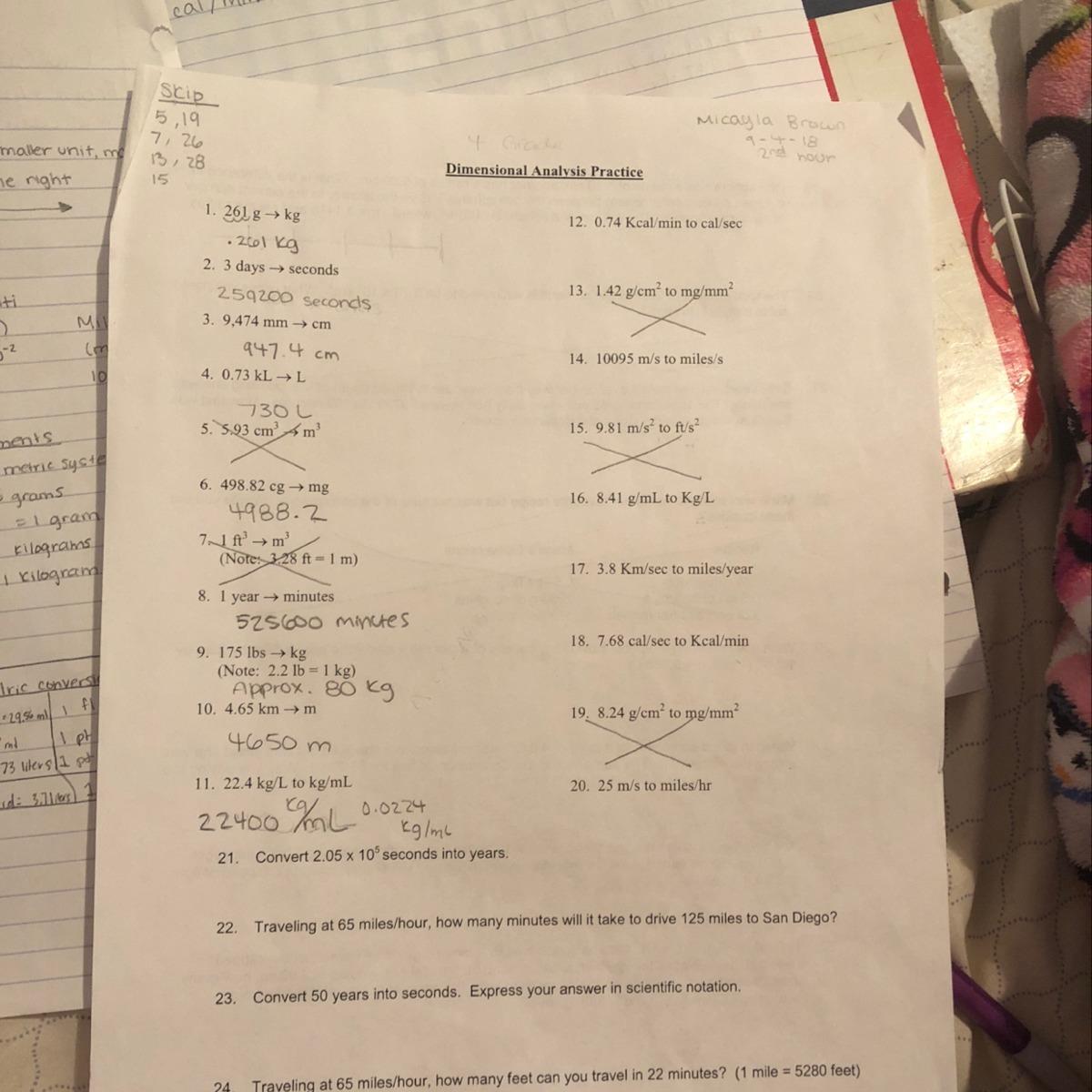 Dimensionalysis Chemistry Worksheet