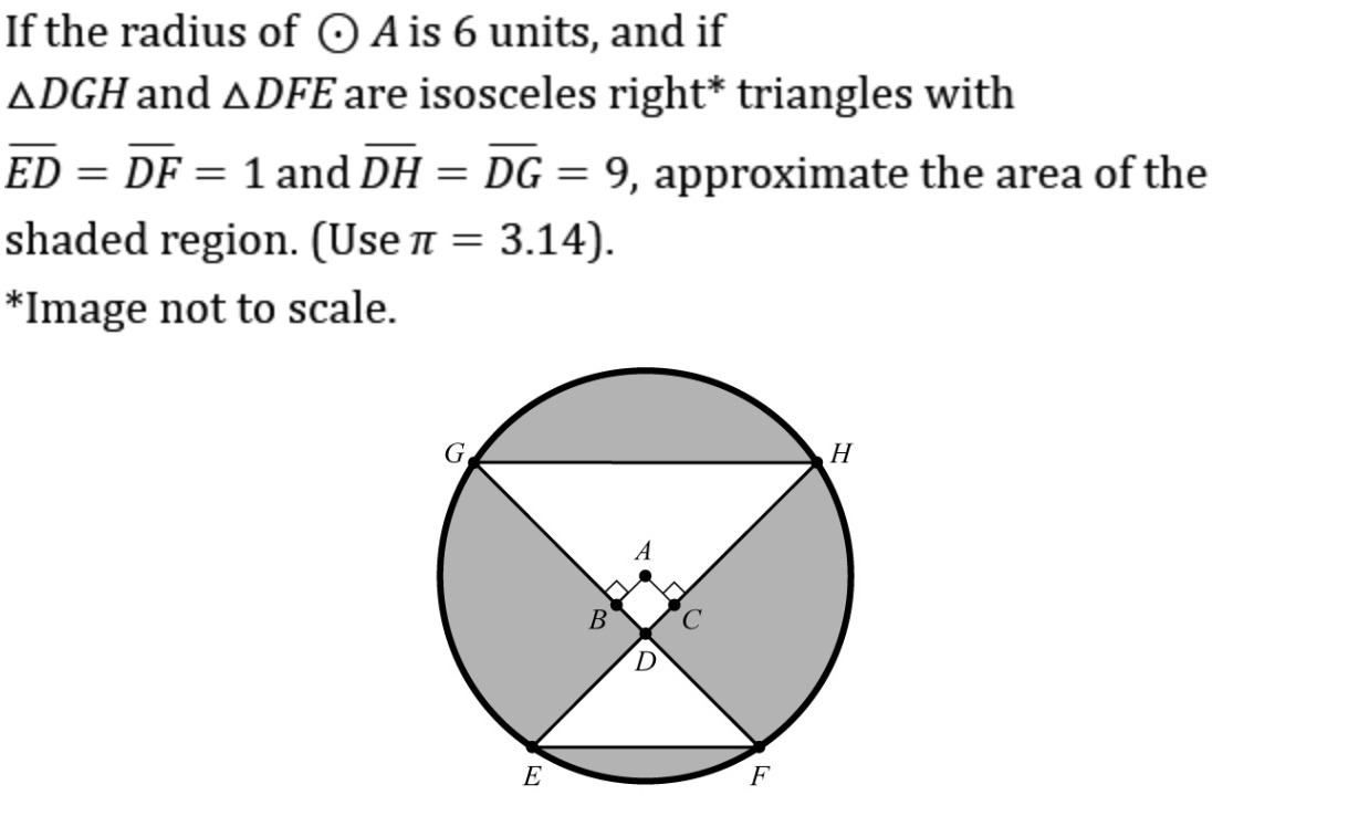 If the radius of circle A is 6 units, calculate the area