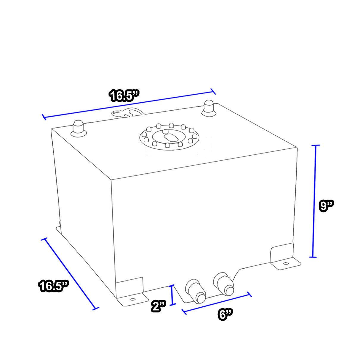 10 GALLON / 40L Aluminum Fuel Cell Tank Oil Box w/Level