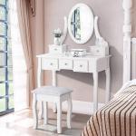 White Vanity Dressing Table Set With Mirror Stool 5 Drawers Makeup Desk Bedroom Ebay