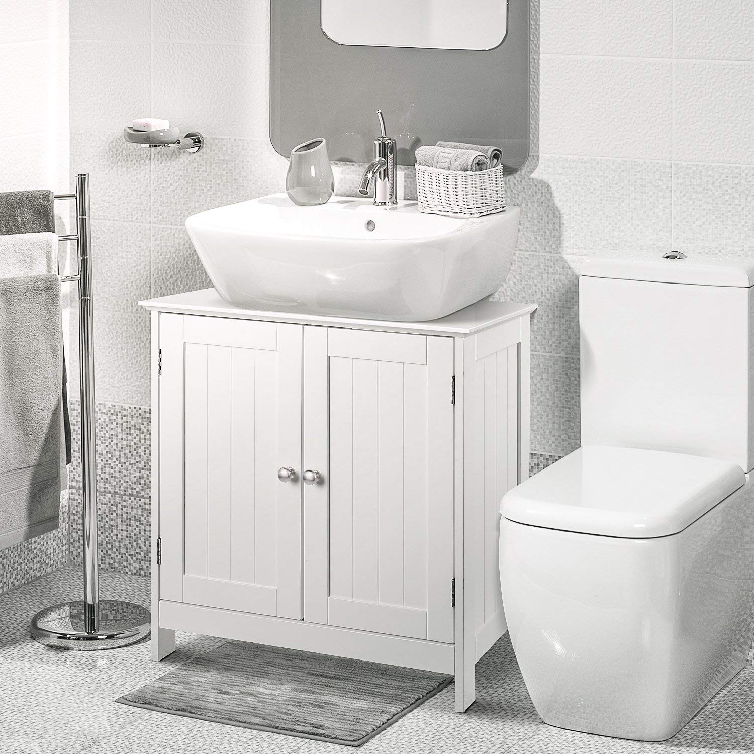New Sink Storage Bathroom Vanity Cabinet Space Saver Organizer White Ebay