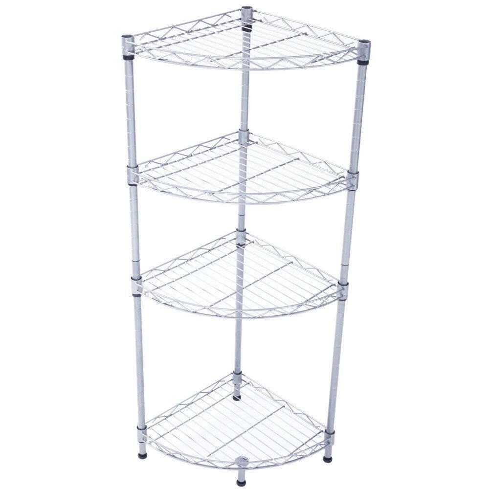 Corner Storage Rack 4 Tier Rack Shelf Wire Shelving Garage