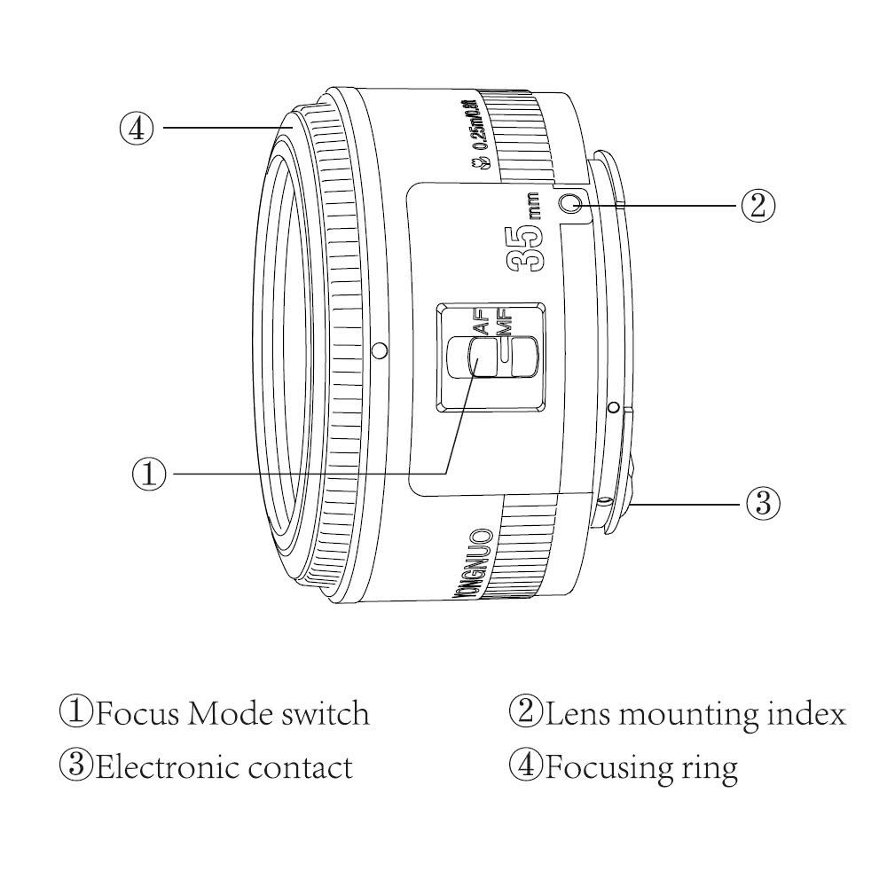 YONGNUO YN35mm F2 Lens Wide-angle AF/MF Lens for Nikon