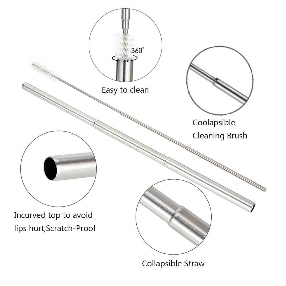 Folding Stainless Steel Telescopic Metal Straw Reusable