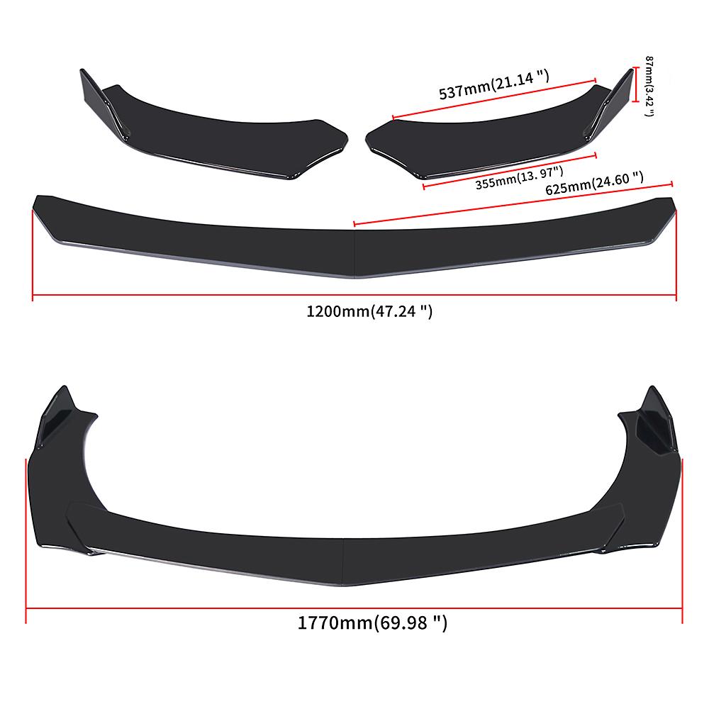 Universal Car Glossy Black Front Bumper Lip Chin Spoiler