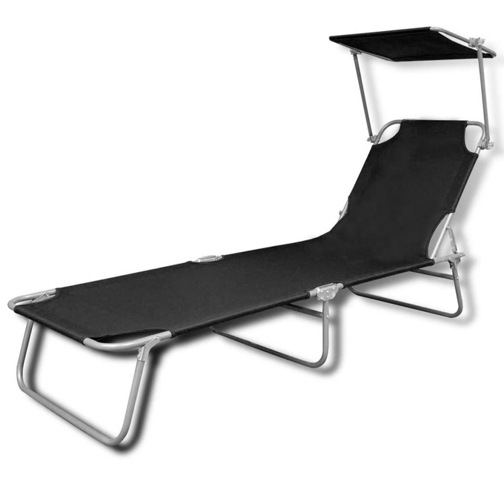 Foldable Bed Chair Details About Foldable Sun Lounger With Canopy Black Beach Garden Outdoor Patio Chair Bed