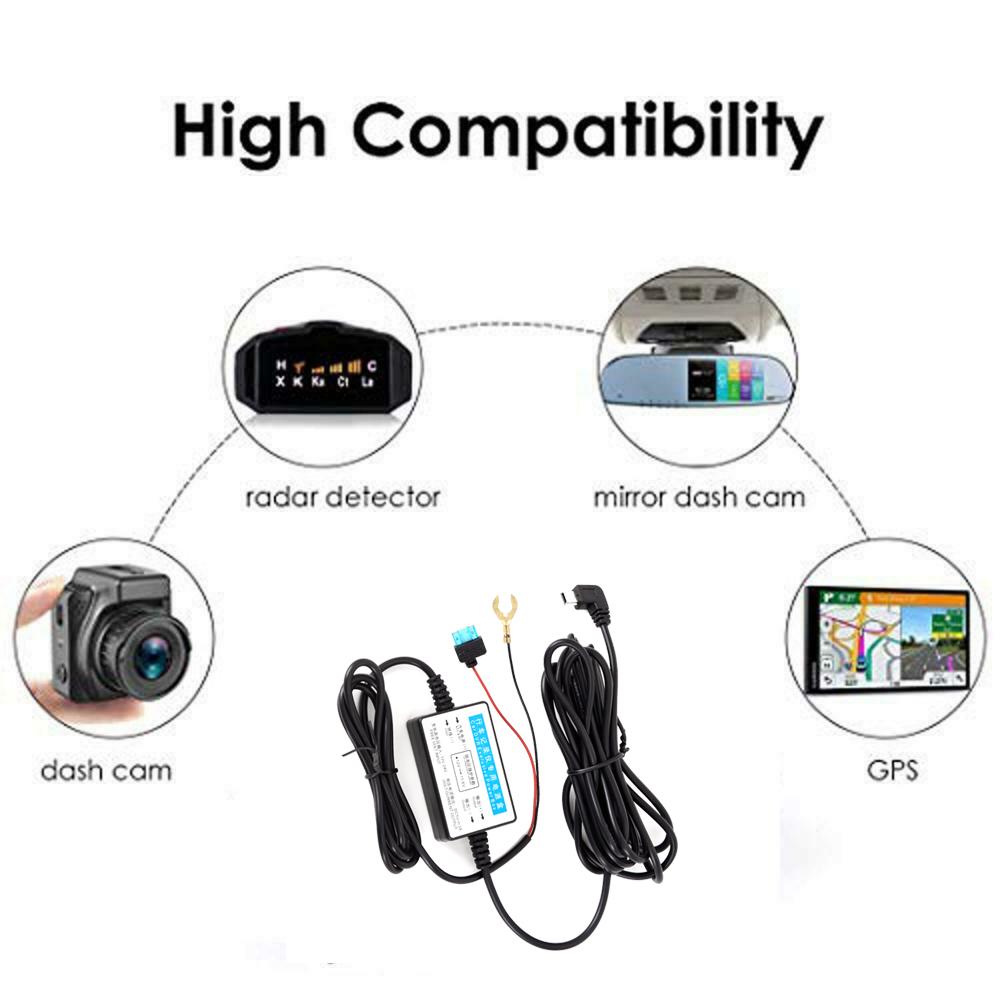 Universal Mini USB Hardwire Cable Kit 3.65M Fuse for Car
