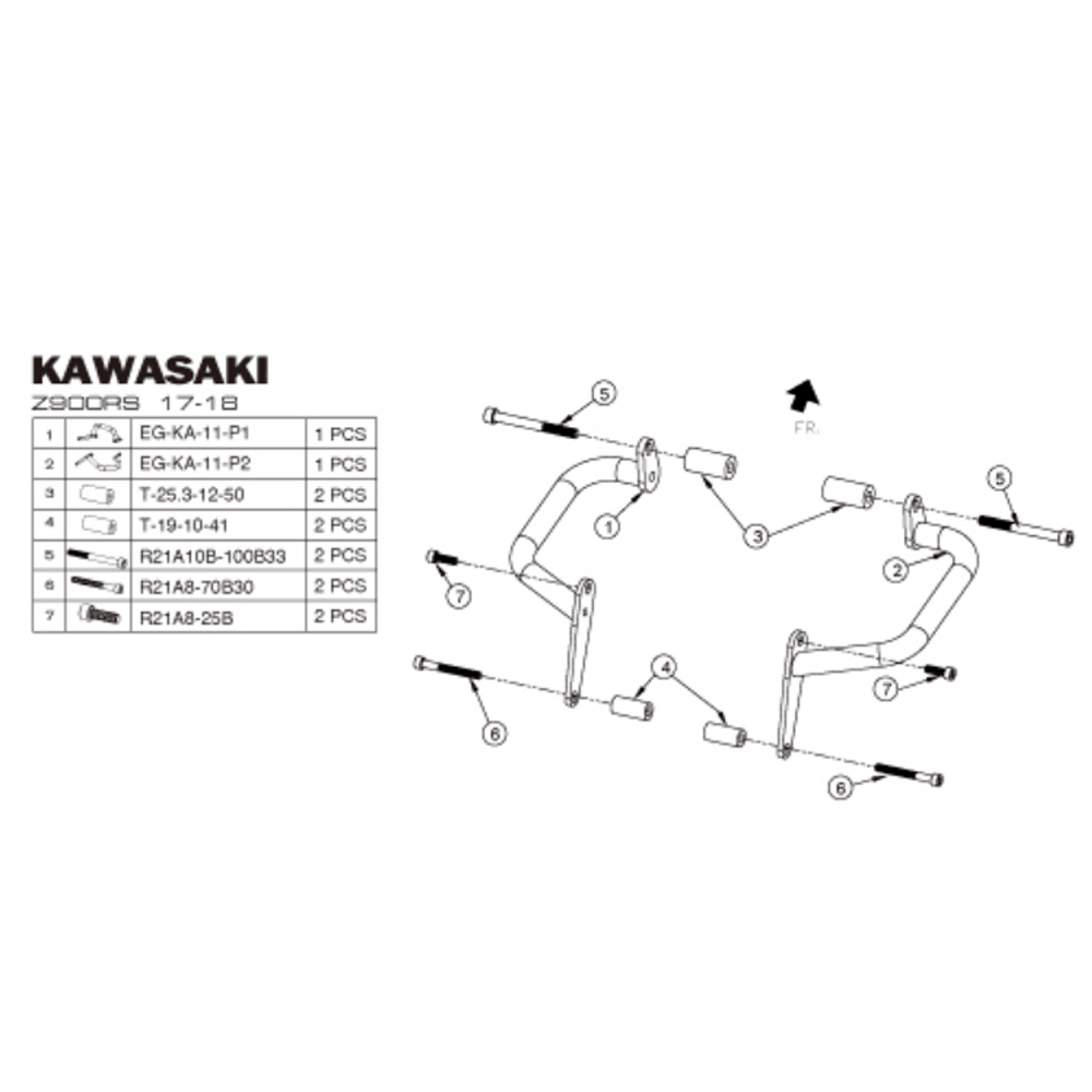 Motorcycle Engine Guard Crash Bar Bumper For KAWASAKI
