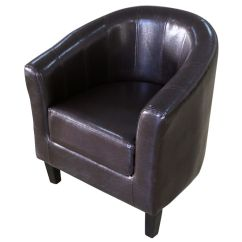 Tub Chair Brown Leather Bean Bag For Bedroom Vintage Club Dining Living Room Armchair Cafe Seat