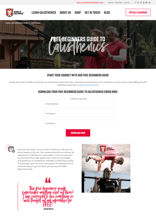 school of calisthenics lead magnet example for building an email list.