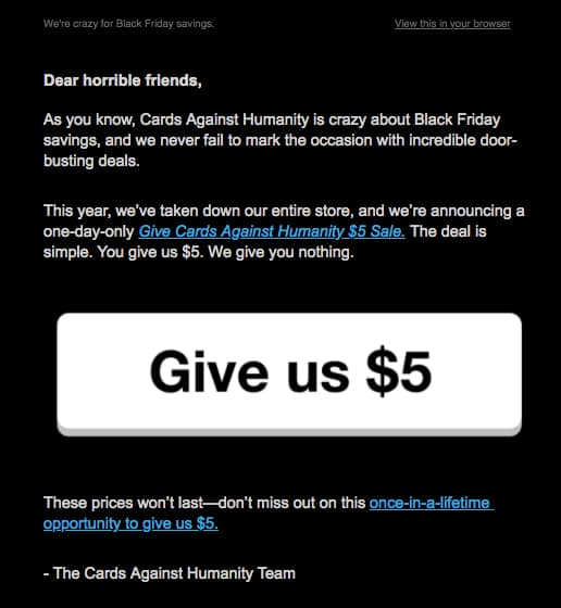 cards against humanity black friday email.