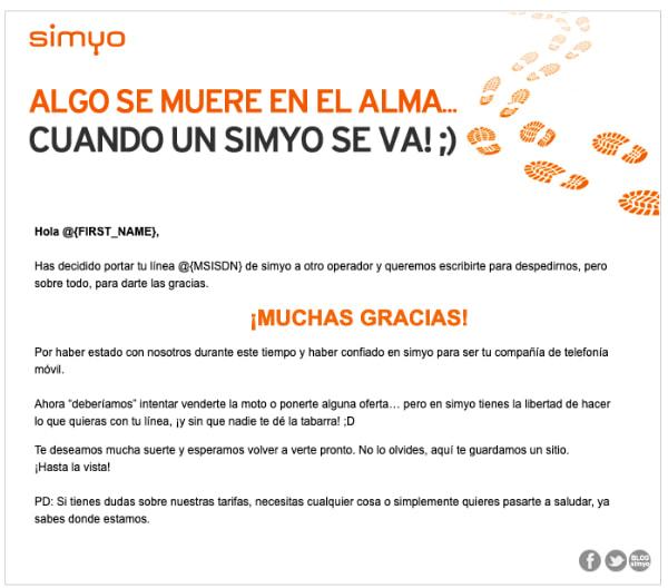 thank you email simyo.