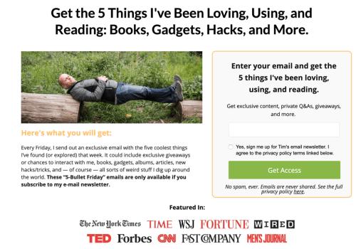 5 bullet email newsletter.